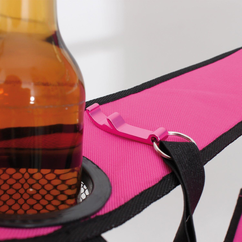 helgaa Campingstuhl Klappsattel pink mit Getr/änkehalter und Flaschen/öffner