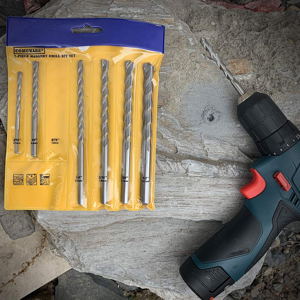 3//16-1//2 Ceramic Tile Concrete Rock COMOWARE Masonry Drill Bit Set- 7pcs Carbon Steel Carbide Tip Drills Through Concrete Masonry Triangle Shank Best for Brick Cement and much more Masonry