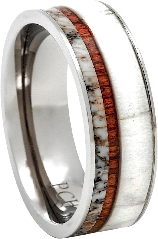 PCH Jewelers Titanium Deer Antler Ring Hawaiian Koa Wood 8mm Wedding Band or Gift