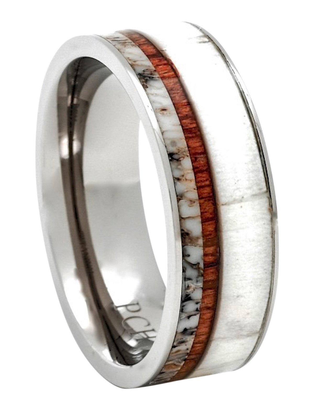 PCH Jewelers Titanium Deer Antler Ring with Koa Wood Inlay Flat Top 8mm Wedding Band Comfort Fit (10)