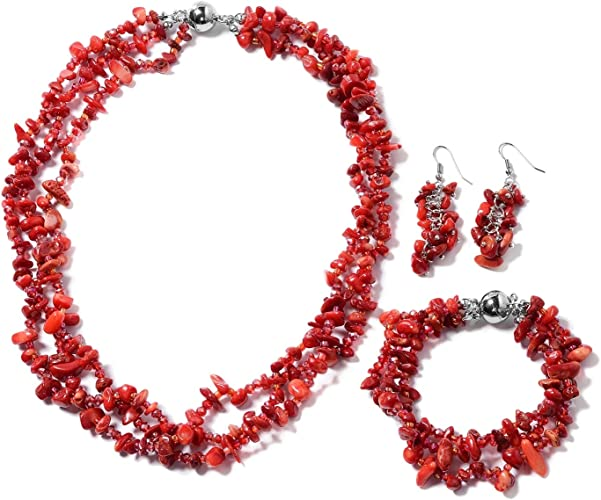 Red Pearl Necklace Vintage Multi Strand Jewelry Fashion Accessories For Mom