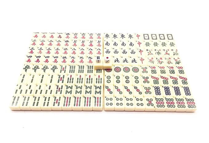 Qiandier Estándar Mahjong Chino Juego Set Mediano 24mm y ...
