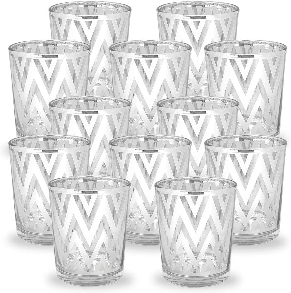 Just Artifacts GlassVotiveCandle Holder 2.75-Inch(12pcs,Chevron Silver) - Mercury Glass Votive Tealight Candle Holders for Weddings, Parties and Home Decor
