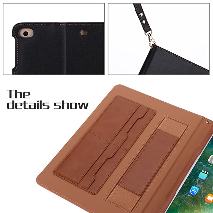 Amazon.com: iPad 9.7 2017 Case, WWW Premium PU Leather Case Protective Cover with Card Slots, Note Holder, Quality Hand Strap for Apple iPad 9.7 2017 Black ...