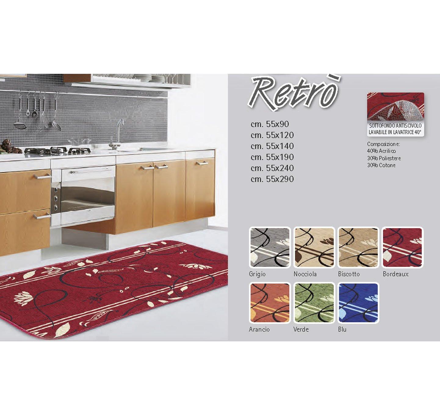 BIANCHERIAWEB Tappeto Da Cucina Disegno Retro 55x90 Verde COINGROSTEX