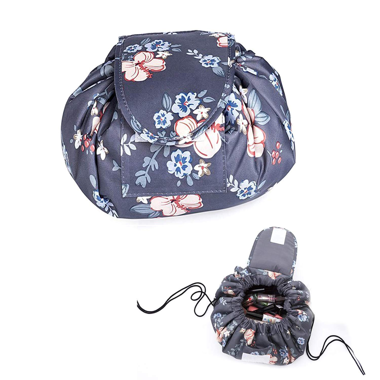 NARUTOO Lazy Drawstring Makeup Bag, Travel Cosmetic Bag Large Capacity Drawstring Makeup Bag Lazy Cosmetic Bag Beam Mouth Storage Bag Cosmetic Pouch Travel Storage Bag (Flower)