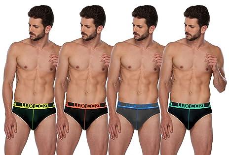 Lux Cozi GLO Men's Multicolored Cotton Briefs (Pack of 4) Men's Underwear Briefs at amazon