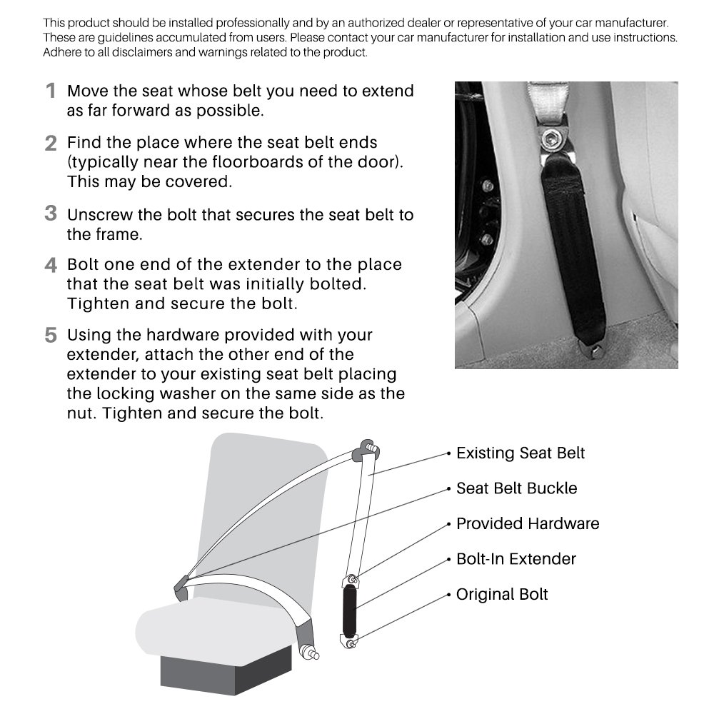 Safety Belt Extension Adds 12 to Belt Webbing Length Quick Installation
