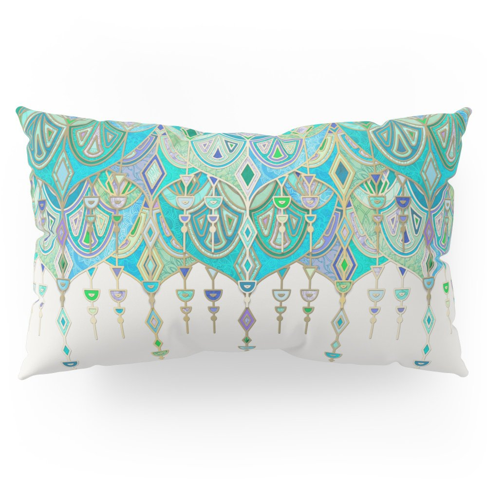 Society6 Art Deco Double Drop In Jade And Aquamarine On Cream Pillow Sham King (20'' x 36'') Set of 2