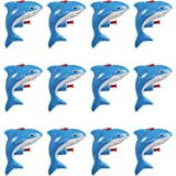 Mini Animal Squirt Guns - 12 Pack of Blue Shark Water Plastic Toys for Kids Bulk Summer Pool Party Favors, Ages 6 and Up