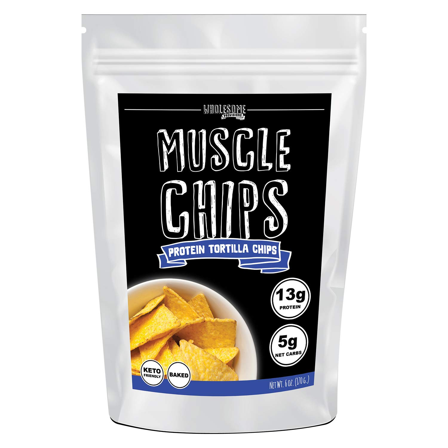 Protein Chips, 13g Protein, 5g Net Carbs, Keto Snacks, Low Carb Snacks, Protein Tortilla Chips, Muscle Chips, Baked Not Fried (1 Pack) by Wholesome Provisions