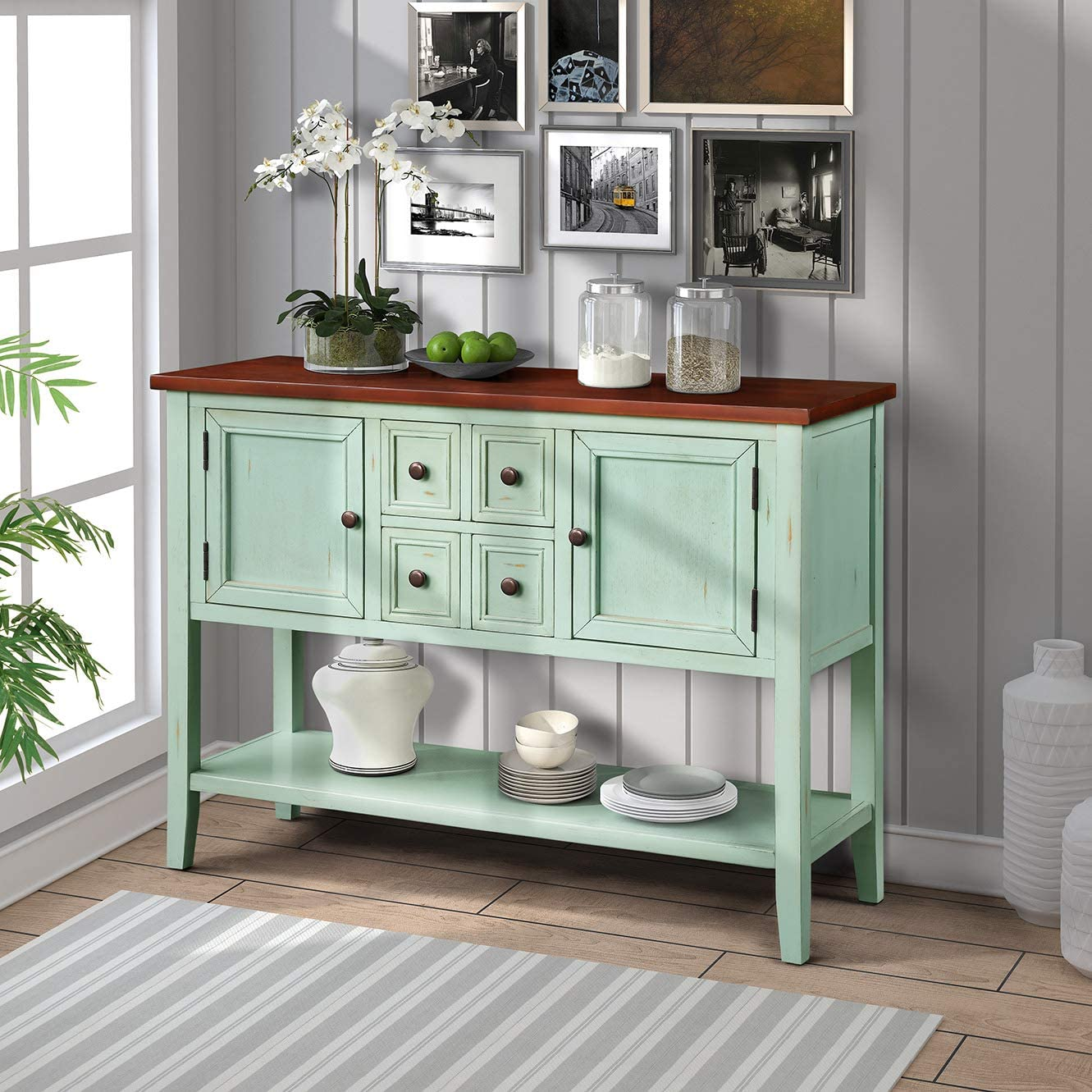 HM HOME Console Table Buffet Table, Sofa Table Sideboard with 4 Storage Drawers 2 Cabinets and Bottom Shelf for Entryway, Hallway and Living Room Antique Blue