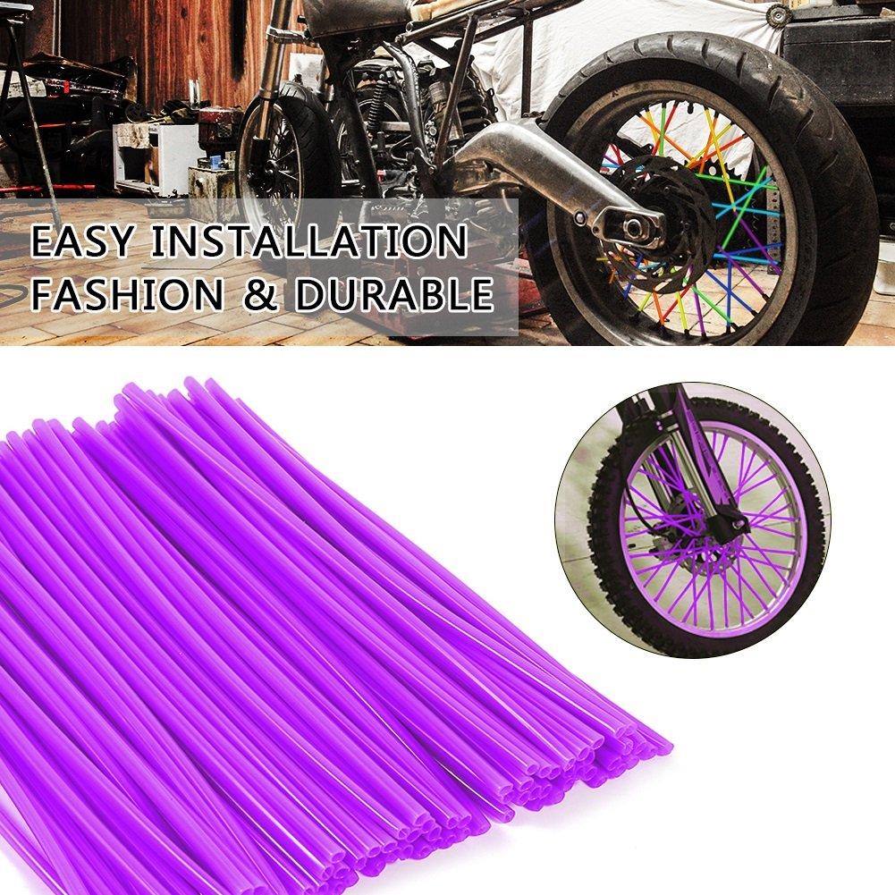 Colore : Viola 72 Pcs Cerchioni Skins Dirt Bike Enduro Motocross Wheel Enduro Cerchione Ruota VGEBY Spoke Skins Motociclo 10 Colori