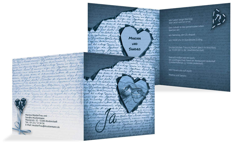Hochzeit Einladung 2 Herzensgedicht, 10 Karten, TürkisGrauMatt B07HN5VM1S | Ausgang  | Ausgewählte Materialien  | Verschiedene Stile und Stile