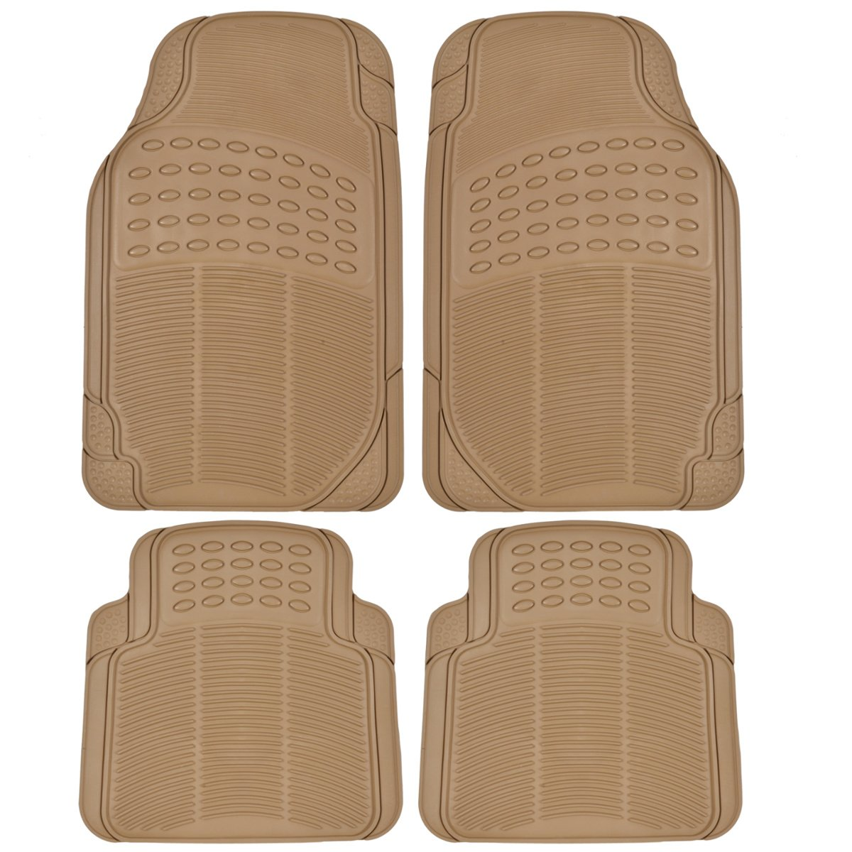 Gray Heavy Duty 4pc Front /& Rear Rubber Mats All Weather Protection BDK Custom Auto Crews Universal Car Truck SUV