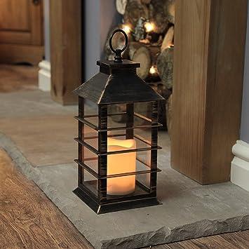 Idée cadeau décoration lanterne effet métal noir doré 31cm avec bougie led intérieur extérieur