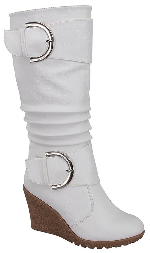 adfe7c7e9ed5 Amazon.com   Top Moda Tmpure-65 Womens Slouch Wedge Boots White (6 ...