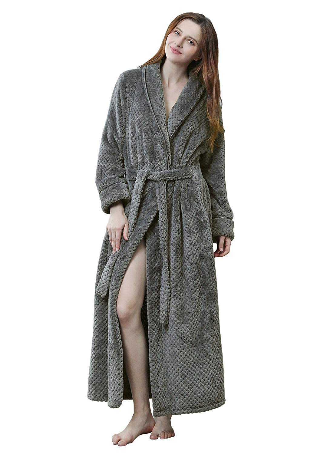 popular stores best choice discount price Womens Soft Plush Bathrobe Winter Fleece Dressing Gown Fluffy Bath Robe  Housecoat Full Long