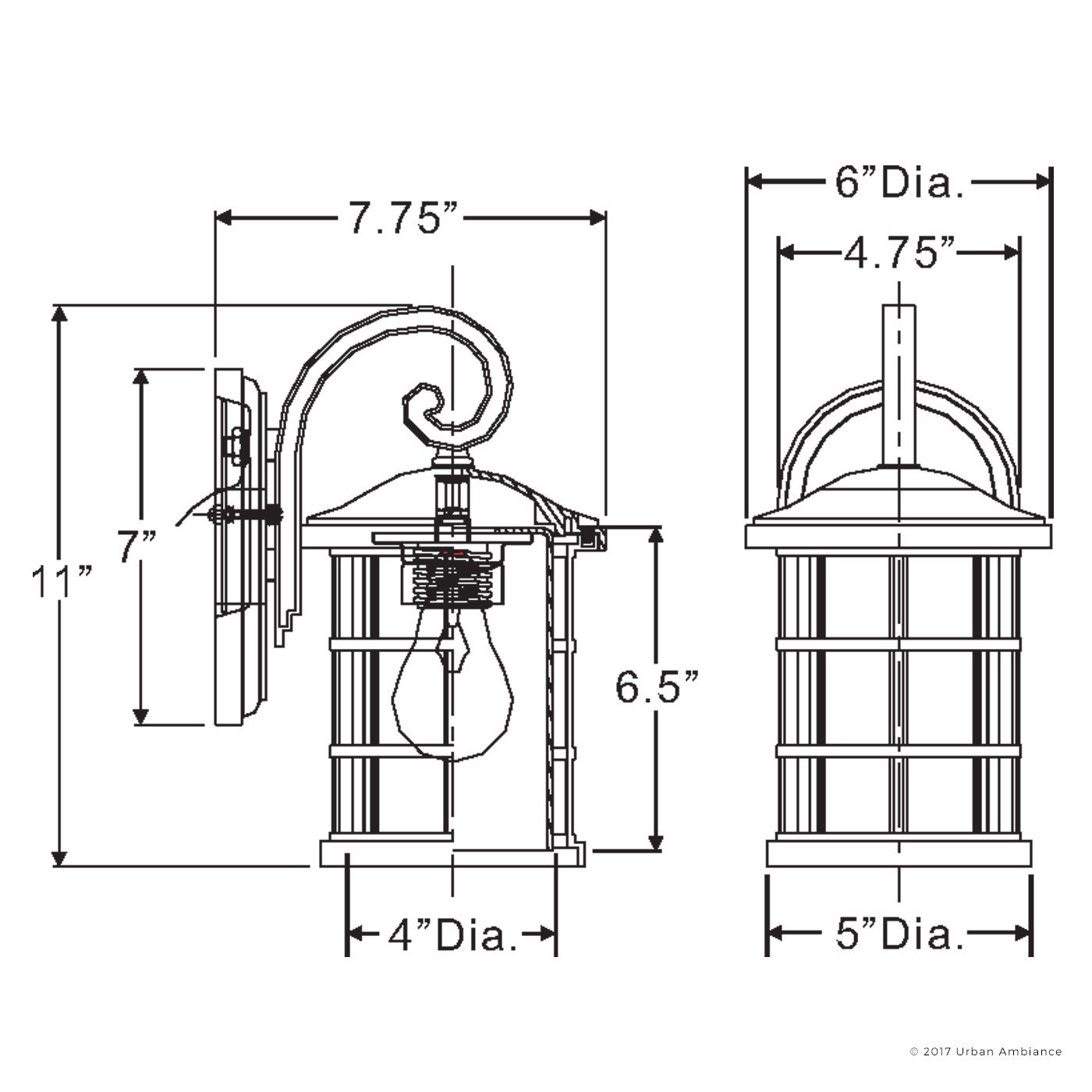 Luxury Craftsman Outdoor Wall Light, Small Size: 11'' H x 6'' W, with Tudor Style Elements, Wrought Iron Design, Oil Rubbed Parisian Bronze Finish and Seeded Glass, UQL1041 by Urban Ambiance by Urban Ambiance (Image #7)