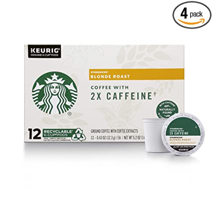 Starbucks Blonde Roast K Cup Coffee Pods With 2x Caffeine For Keurig Brewers 4 Boxes 48 Pods Total Amazon Com Grocery Gourmet Food