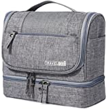 Travel Hanging Toiletry Makeup Cosmetic Bag Waterproof Organizer for Men and Women Accessories Toiletry Kit with Dry and Wet Separation 2-layer Design by Refee (Grey)