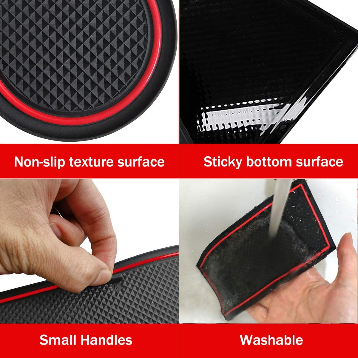 Red Auovo Anti Dust Mats for Mercedes-Benz C-Class C300 Sedan Coupe 2015-2020 Custom Fit Door Compartment Liners Cup Holder Console Liners Interior Accessories 8pcs//Set