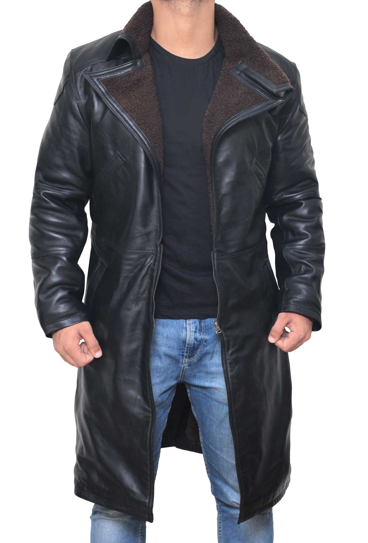 Decrum Blade Runner Costume - Synthetic Leather Jacket Leather Jacket | Black, M