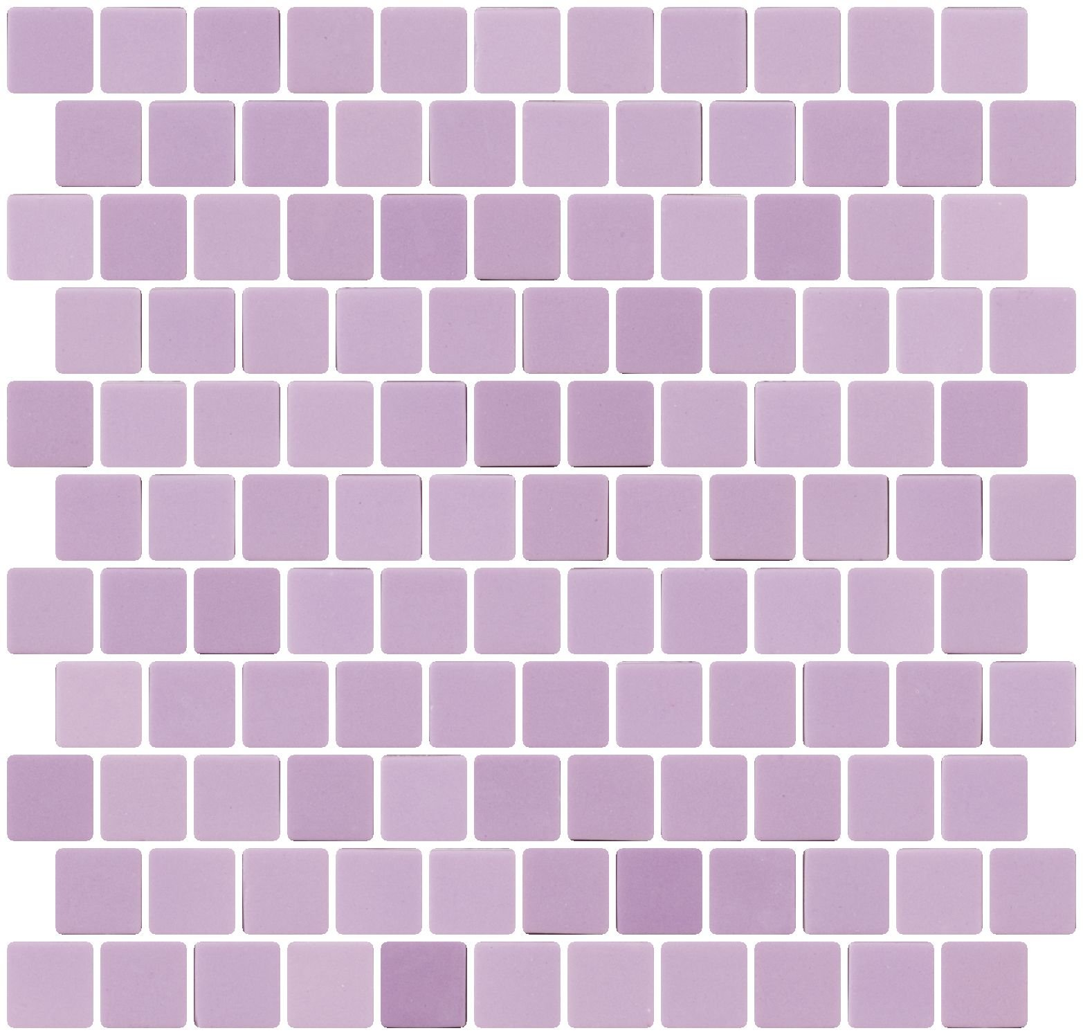 Susan Jablon Mosaics - 1 Inch Lilac Purple Recycled Glass Tile Reset In Offset Layout