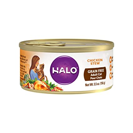 Halo Grain Free Natural Wet Cat Food, Chicken Stew, 5.5-Ounce Can (12 Pack)