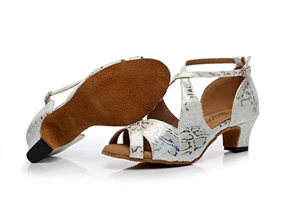 JSHOE Damen Latin Dance Schuhe Salsa/Tango/Tee/Samba/Modern/Jazz Schuhe Sandalen High Heels,Grey-heeled5cm-UK2.5/EU32/Our33
