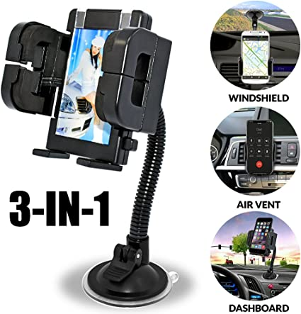 Car Phone Mount 3-in-1 Universal Phone Holder Cell Phone Car Air Vent Holder Dashboard Mount Windshield Mount Compatible with Samsung Galaxy Note S6 S7 More