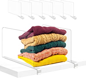 Urban Deco 6PCS Shelf Dividers for Closets Clear Acrylic Closet Shelf Divider for Wood Shelves Separator for Storage,Bedroom, Bathroom, Kitchen and Office Shelve