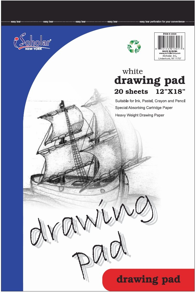 iScholar Drawing Tablet, 20 Sheets, 12 x 18-Inches, White (43020)