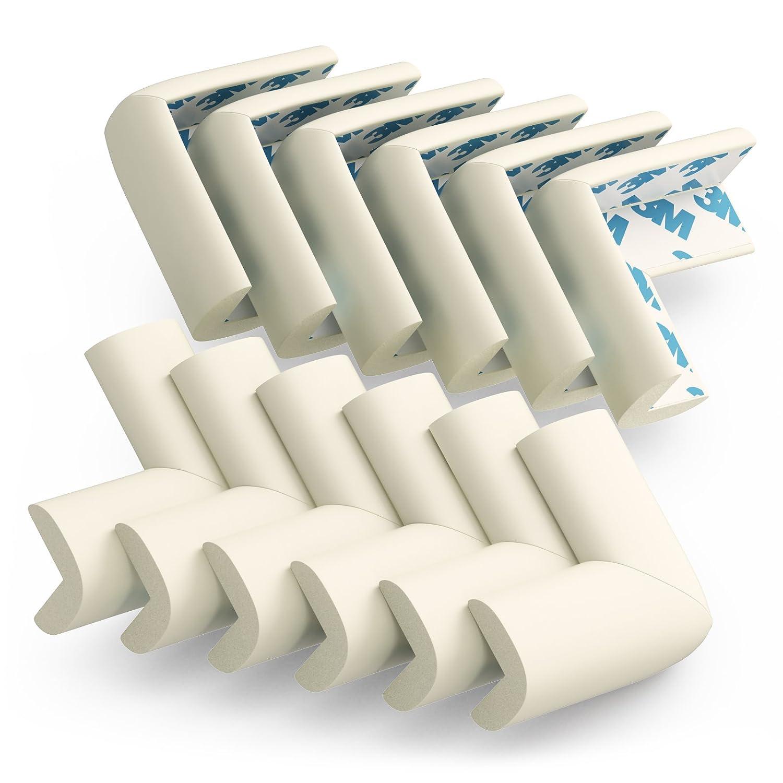 Small Baby Edge Guard Corner Protectors, PreTaped 3M Adhesive, 12 qty, Off White Sure Basics Inc