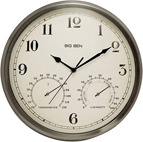 Amazon Com Westclox 49832 Indoor Outdoor Clock With Temperature Humidity Gauges Silver Home Kitchen