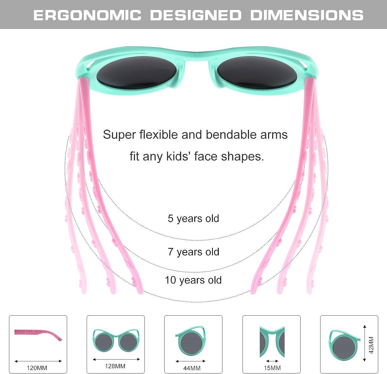 GQUEEN Gummi Flexible Kinder Cateye Polarisierte Sonnenbrille f/ür Jungen M/ädchen Baby und Kinder Alter 3-10,ET22
