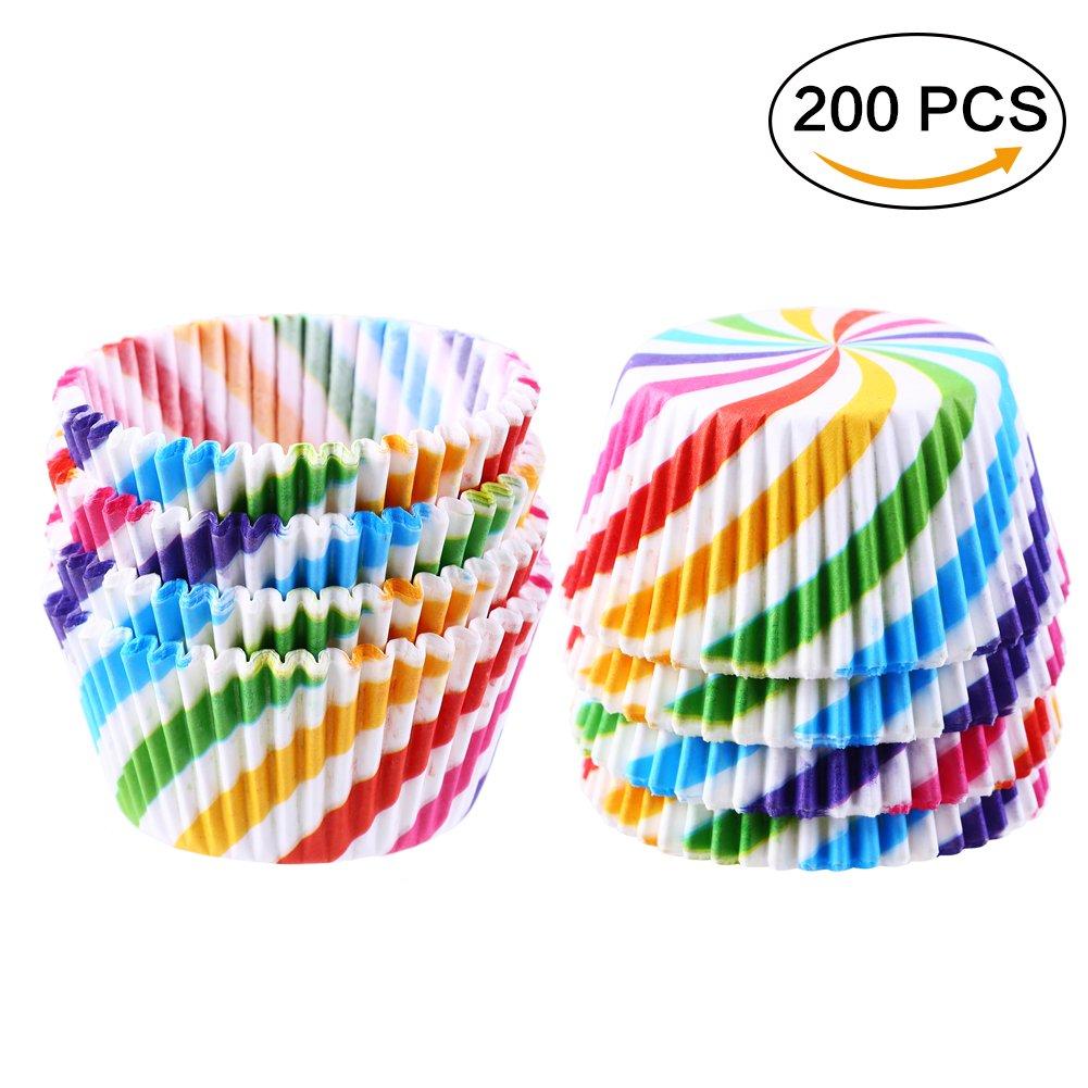 Anniversaire. CCINEE Lot 200/pcs Rainbow Stripe caissettes pour Cupcakes sulfuris/é Muffin Cupcake Wrapper Cases de Papier pour Mariage