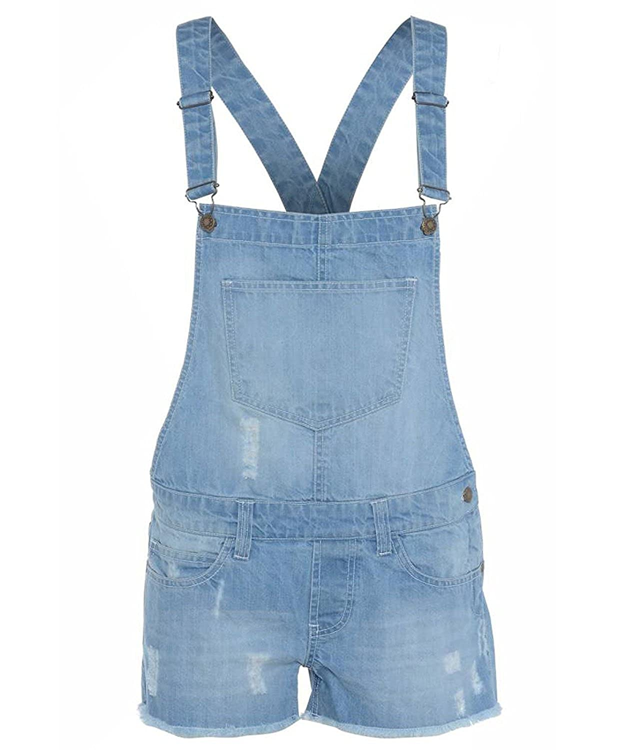 Gracious Girl Monica New Girls Denim Wash Distressed Frayed Dungaree Kids Shortall Playsuit