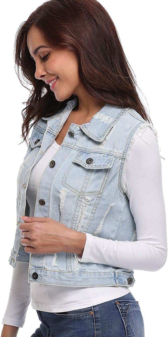 MISS MOLY Womens Denim Vest Sleeveless Distressed Classic Buttoned Washed Jacket Cotton
