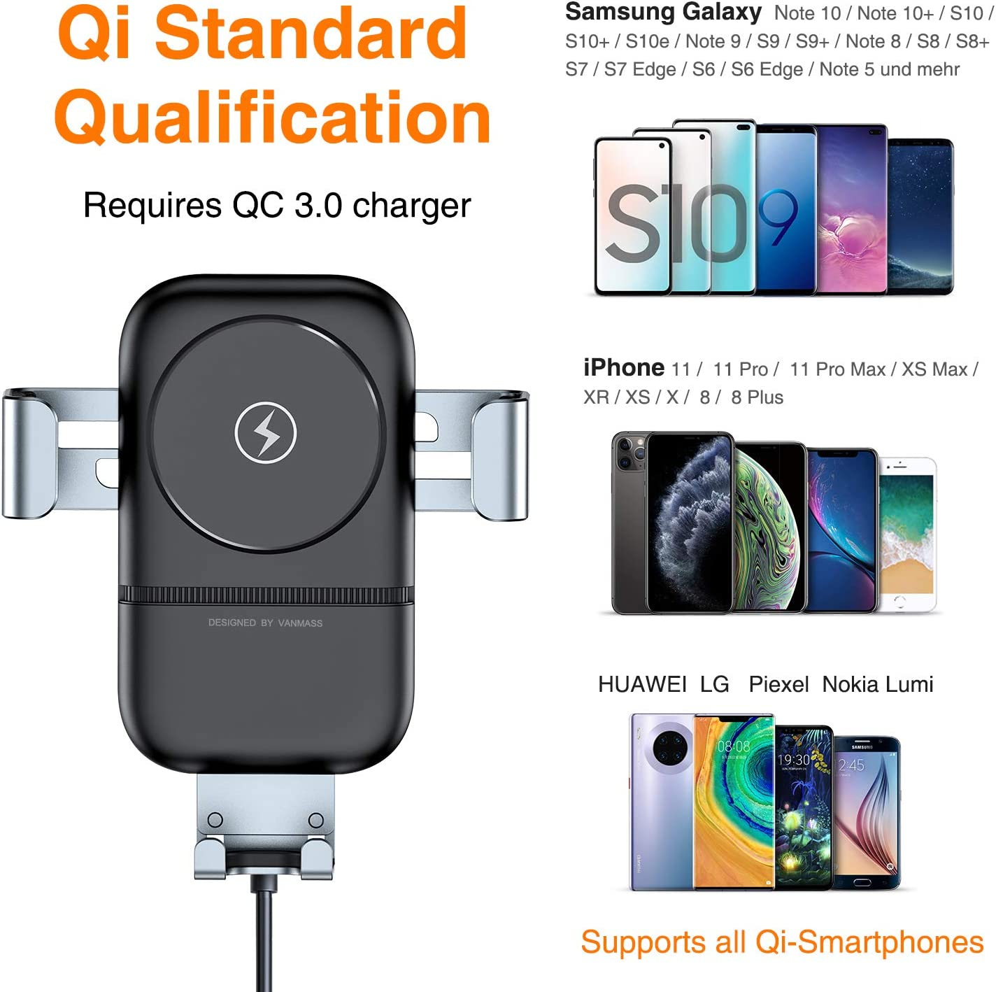 VANMASS Wireless Car Charger Mount 10W7.5W Qi Car Charger Auto Clamping Adjustable Gravity, Wireless Phone Holder Air Vent for Samsung S10+ S9 S8