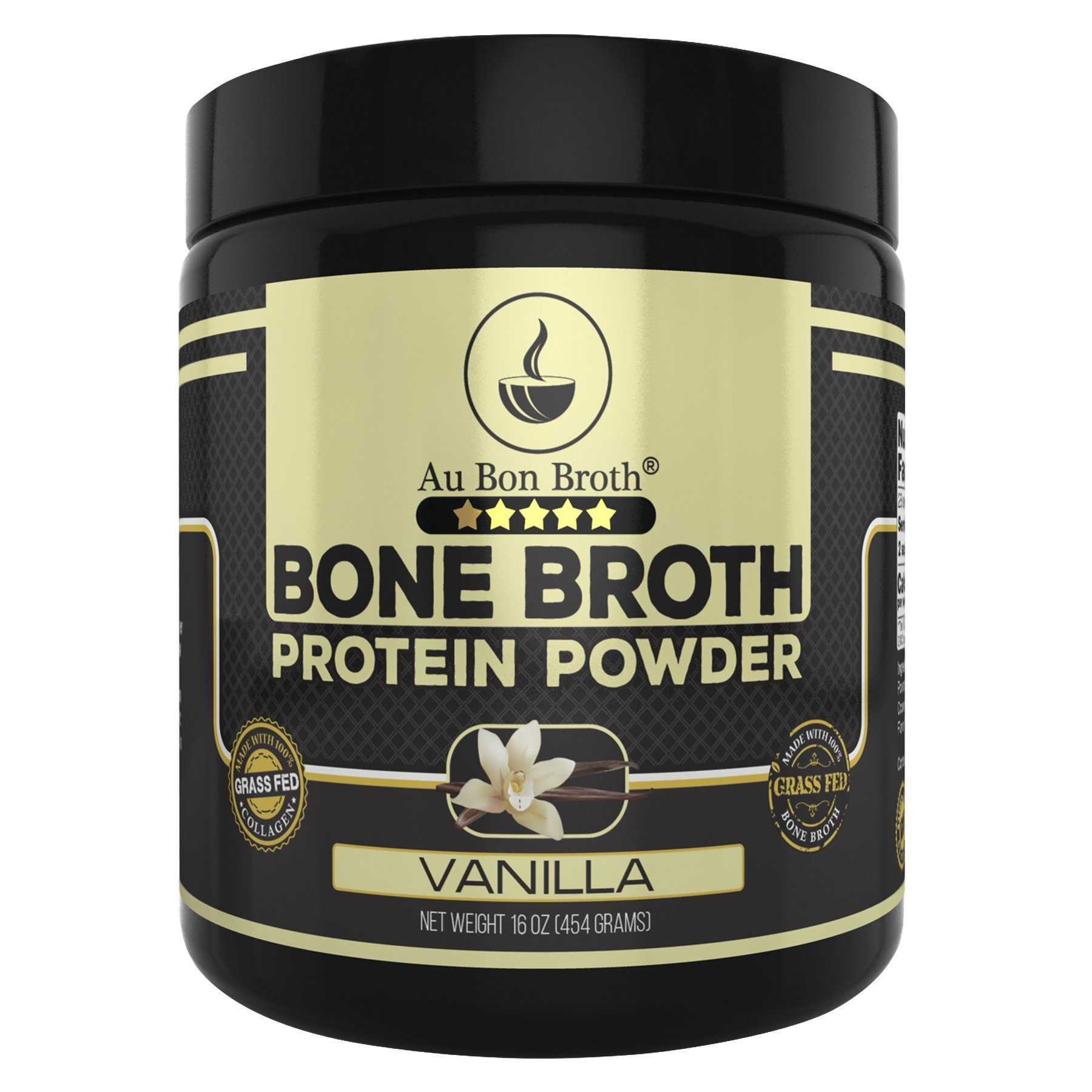 Genuine Grass Fed Organic Bone Broth Protein Powder Collagen 16oz. Vanilla Flavor 28 Servings, Mixes Instantly, Gluten Free, Pasture Raised, 100% Sourced, Made in USA, NOT from Concentrate by Au Bon Broth
