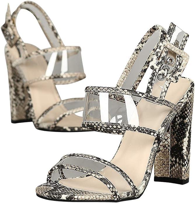 Alrisco Women Open Toe Clear PVC Slingback Chunky Heel RD13