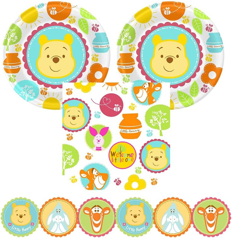02D Winnie die Pooh 'Little Hunny' Baby Shower Party Supplies, 16 Guests, Plates, Napkins, Garland