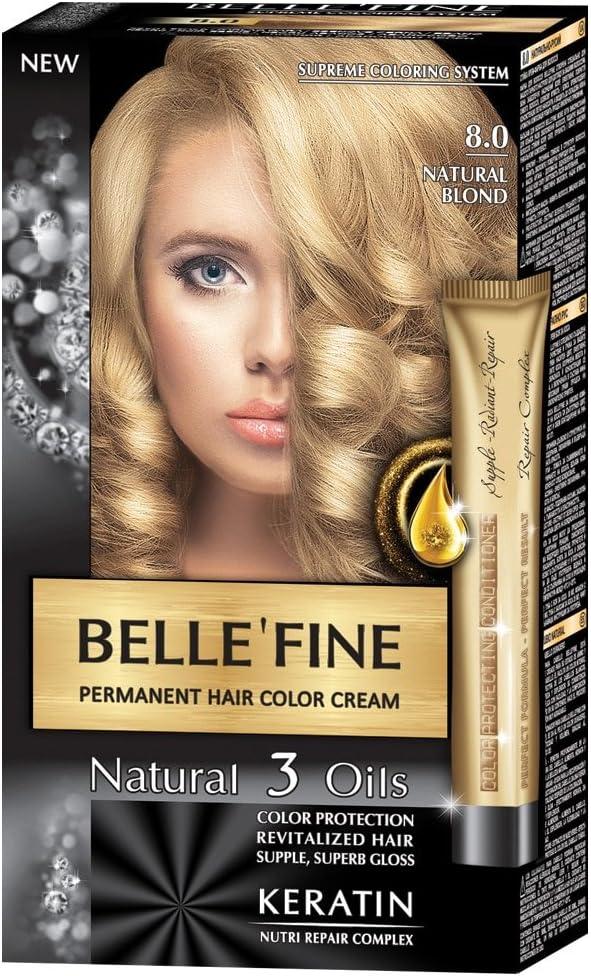 BELLEFINE® - Black Series - Tinte permanente natural - Con 3 aceites y queratina - Rubio natural