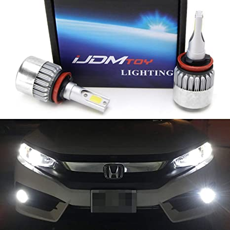 iJDMTOY (2) C6 High Power LED Headlights - H11 H8 H9 Bulb Size - 6000K  Xenon White, Powered By COB LED with Fan/Heatsink