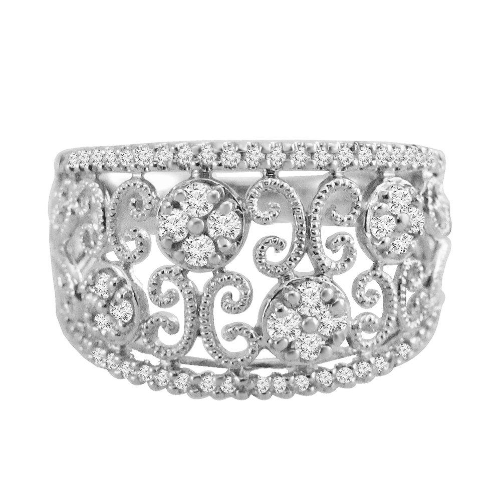 IGI Certified Art Deco Style 0.45ct Diamond 14k White Gold Milgrain Ring Band