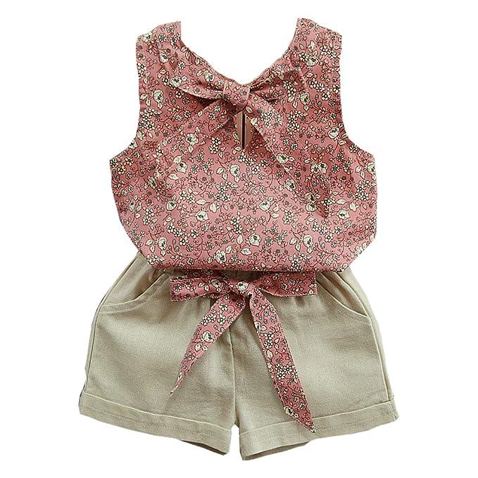 Lankey Baby Clothing Kids Summer Clothes Girls Flower Printing Vest Pure Color Pants Children