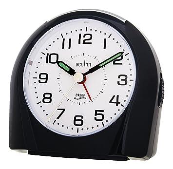 Acctim 14113 Europa - Reloj despertador (segundero silencioso), color negro: Amazon.es: Electrónica