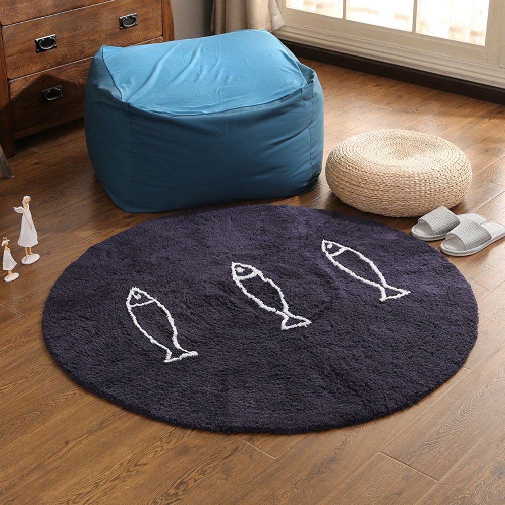 Cartoon Round Navy Rug Fish - Cotton Children Babies Mats Anti-slip Home Soft Addition 59inch