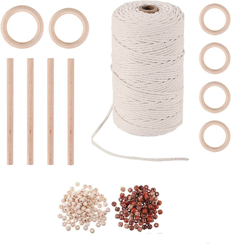 JIALI 100 metros de cuerda de algodón varilla madera anillo flor combinación de perlas